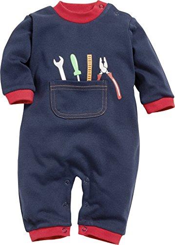 Playshoes Schnizler Baby-Jungen Schlafoverall Heimwerker Schlafstrampler, Blau (Blau 7), 50