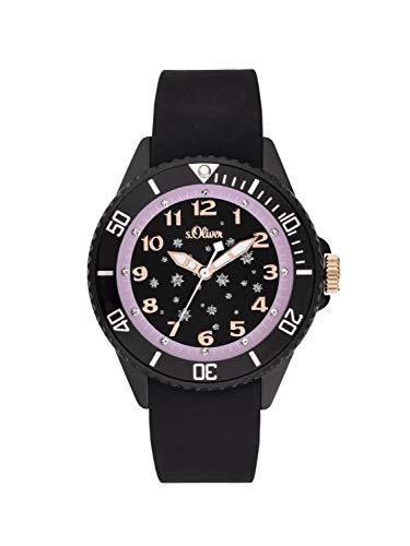 s.Oliver Mädchen Analog Quarz Uhr mit Silikon Armband SO-3924-PQ