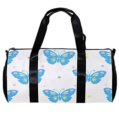 Borsone da palestra rotondo con tracolla staccabile blu farfalle allenamento borsa per donne e uomini