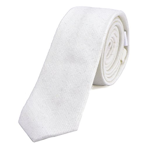 DonDon Corbata estrecha de algodón para hombres de 6 cm - marfil blanco