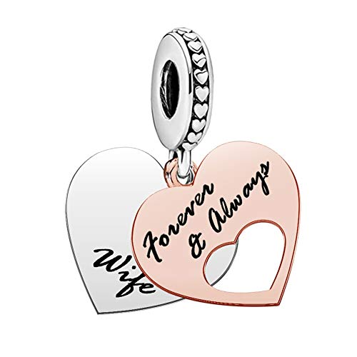 UNIQUEEN Love Wife Forever & Always Heart Charm Bead fit Pandora Charm Necklace Bracelet Valentine Charms