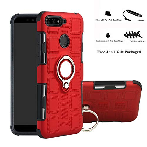Labanema Huawei Y6 2018 Funda, 360 Rotating Ring Grip Stand Holder Capa TPU + PC Shockproof Anti-rasguños teléfono Caso protección Cáscara Cover para Huawei Y6 2018 / Honor 7A / Enjoy 8E - Rojo