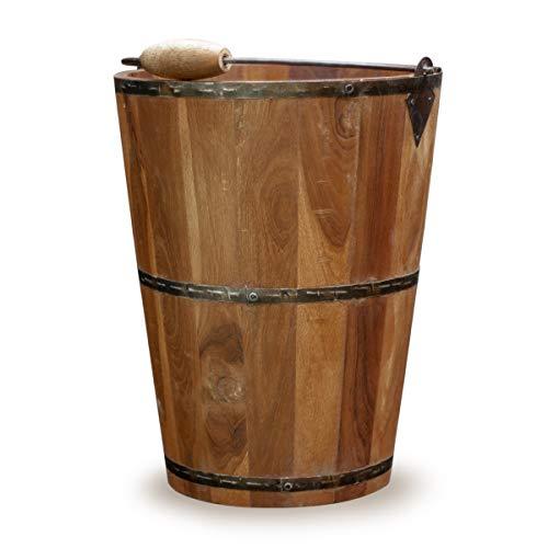 Antikas - Cubo de madera para plantas, cubo decorativo, cubo de almacenamiento con herraje de metal