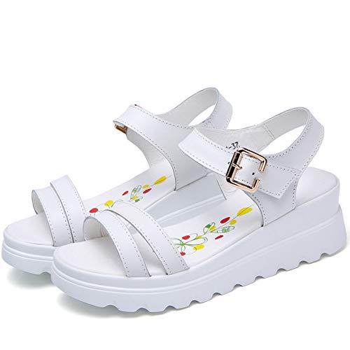 Sandalias De Mujer,Sandalias Ligeras Antideslizantes De Moda Blanca Para Mujer Plataforma Suave Y Cómoda Zapatos De Hebilla De Tacón Medio Sandalias Casuales De Viaje En La Playa Al Aire Libre