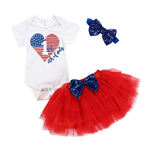 Newborn Baby Dress My First 4th of July Outfit Baby Girl Letters Romper Tutu Dress with Headband...