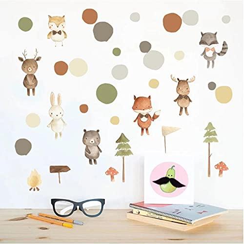 Pegatinas de pared de árbol de oso zorro Animal de dibujos animados pegatinas de habitación de niños nórdicos ecológico nevera armario decoración suministro