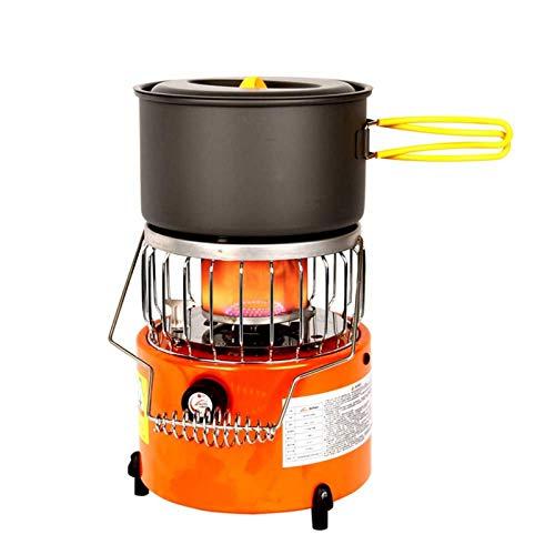 Calefacción 2 en 1 estufa de camping – portátil seguro de bajo consumo de energía durante todo el año, calentador de camping estufa para uso al aire libre en invierno