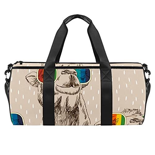 Sketch of Camel con gafas, bolsa de deporte para gimnasio, bolsa de viaje cilíndrica con bolsillo mojado, bolsa de entrenamiento ligera con correa para el hombro para hombres y mujeres