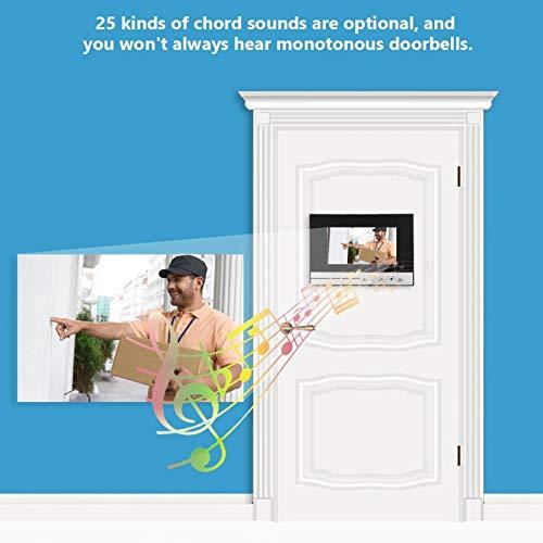 Timbre con Video con ángulo de visión Amplio de 90 ° 25 Tonos de Llamada Opcionales Videoportero con videoportero Teléfono con videoportero para Seguridad en el hogar(US Standard 100-240V)
