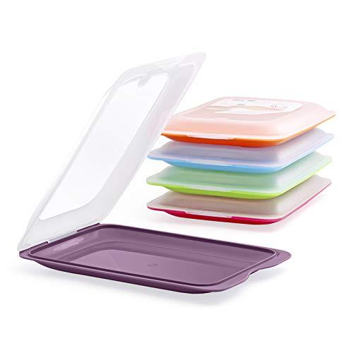 PracticDomus Fresh System - Hochwertige Aufschnitt-Boxen, Frischhaltedose für Aufschnitt. Wurst Behälter. Optimale Aufbewahrung im Kühlschrank, 5 Stück, Maße 17 x 3.2 x 25.2 cm (1 Auberginenfarbe)