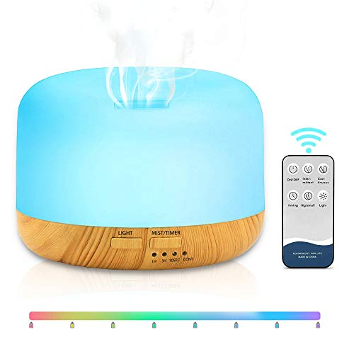SANBLOGAN Aroma Diffuser, Ultraschall Luftbefeuchter Luft Befeuchtungsgerät Fernbedienung Vernebler Ultra Leise Raumbefeuchter mit 7 Farben LED Duftlampe Öle Diffusor für Schlafzimmer, Wohnung, Büro