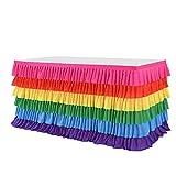 Falda de mesa tutú de tul arco iris de 6 pies para decoración de fiesta de cumpleaños, baby shower, falda de mesa para mesas rectangulares y redondas