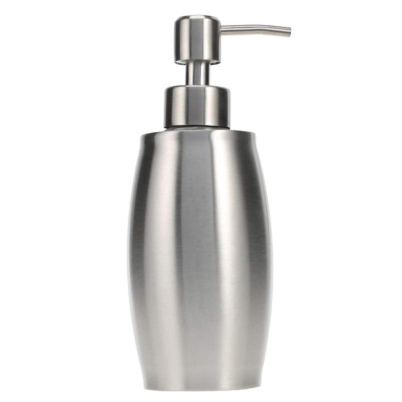 欠如ベース頑張るソープ ポンプ シャンプーディスペンサー 手洗いボトル ステンレス製 350ml 防錆 シャワージェル 石鹸 シャンプー 洗剤 キッチン バスルーム トイレ 洗剤容器 (シルバー)