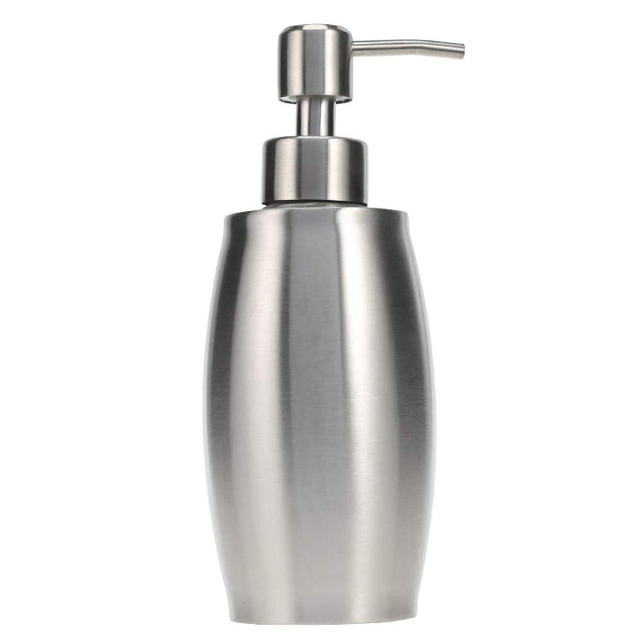 有名早めるもつれソープ ポンプ シャンプーディスペンサー 手洗いボトル 泡 ステンレス製 350ml 防錆 シャワージェル 石鹸 シャンプー 洗剤 キッチン バスルーム トイレ 洗剤容器 (シルバー)