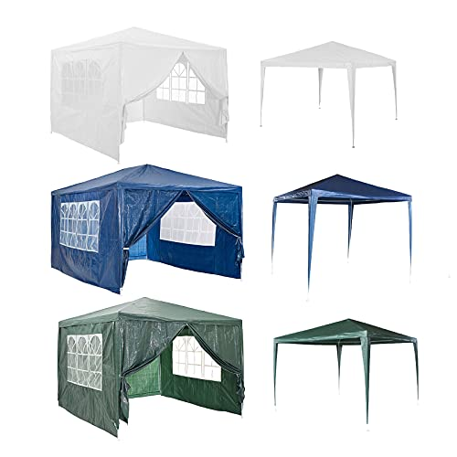DayPlus 3m x 3m Gazebo with Sides, Heavy Duty Shelter Tent, Sun & Water Protection Marquee Canopy Tent with Transparent Windows for Outdoor Garden Patio Party Commercial Events, Green