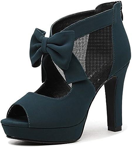 AJUNR Femmes Loisirs été Mode Sandales la Nouvelle Arc avec d'épais Creux Rome Jacobs Talons Hauts Sandales Bouche de Poisson Chaussures Semelles épaisses