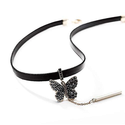GL Dames vlinder hangertje halsketting met 40 + 7 cm ketting sieraad geschenk voor vrouwen meisjes