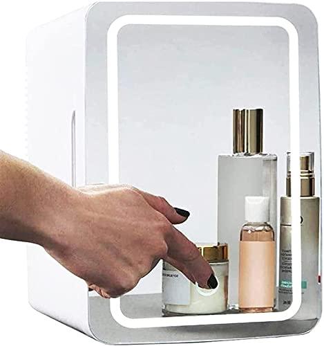 Peakfeng Mini refrigerador 8 litros, 37dB Mini Maquillaje Frigorífico portátil Cosmético refrigerador Compacto Vidrio Panel de Vidrio LED Frigorífico de la luz Frigorífico para el Dormitorio Dual Uso