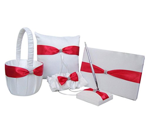 Dollbling Elegant Red Bow White Satin Wedding Flower Girl Basket + Ring Pillow +Guest Book + Pen Holder +Garter Set