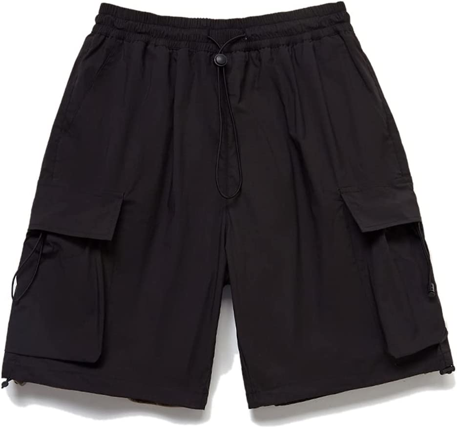 WXYPP Loose Drawstring Cargo Shorts Men's Youth Casual Pants Comfortable (Color : Black, Size : XXL)