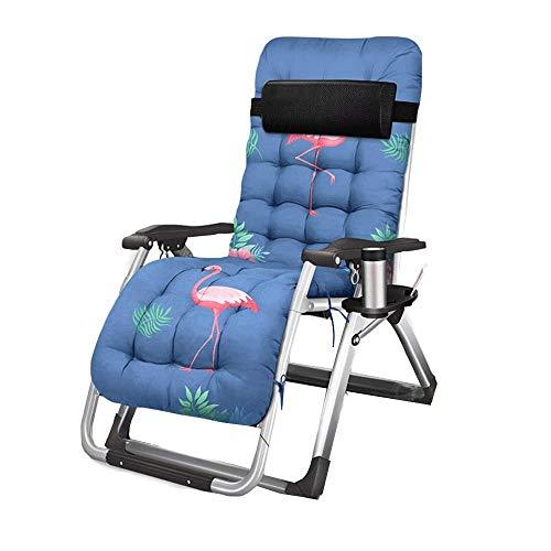 OaLt-t Klappstuhl Mittagspause Siesta Bett Portable Lazy Adult Home Strandkorb Camping Stuhl High Back Portable (Color : Blue-b)
