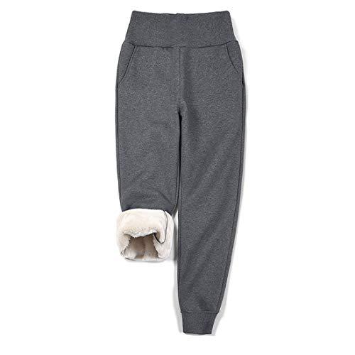 utcoco Women's Winter Wide Ribbed High Waist Thick Sherpa Lined Warm Fleece Jogger Sweatpant (L, Dark Gray)