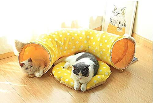 Bcaer 2-in-1 weiche Plüsch Katze Bett Kissen Anzüge für den Tunnel und Tunnel Tunnel Spiel,Yellow