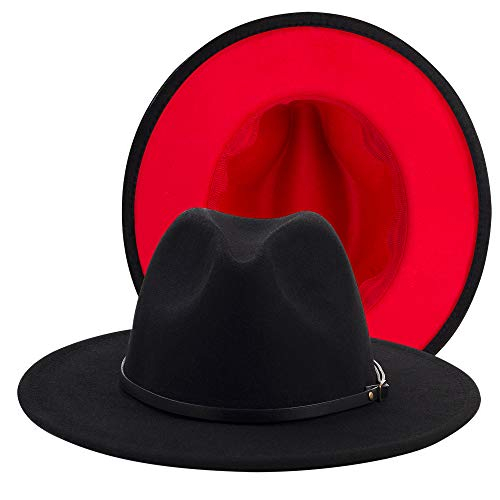Eric Carl Trend Red Black Patchwork Wool Felt Jazz Fedora Hat Casual Men Women Leather Band Wide Brim Felt Hat, Small-Medium