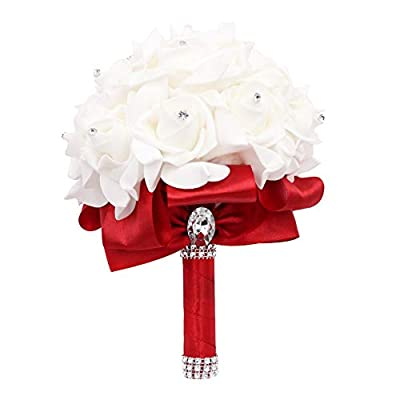 JUDYME Wedding Bouquet Silk Bride Holding Bouquet with Crystals Soft Ribbons Artificial Rose Flowers for Wedding, Party and Church (Wine red)