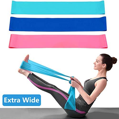 3 Pezzi Banda Elastici Fitness di Resistenza, 1.5M Fasce Elastiche con 3 Livelli di Resistenza, Fascia di Allenamento Elastica Esercizi per Pilates Yoga Sollevamento Pesi Fisioterapia e Riabilitazione