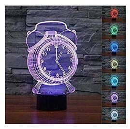 3D Der Wecker Glühen LED Lampe 7 Farben erstaunliche optische Täuschung Art Skulptur Ferneinstellung Lichter produziert einzigartige Lichteffekte und 3D-Visualisierung für Home Decor-kreative Geschenk