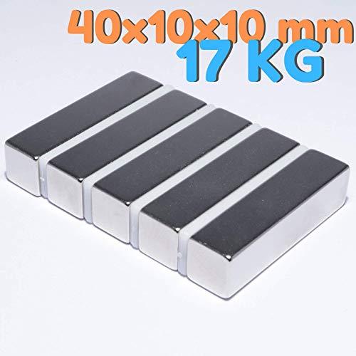 Neodym Magnete Extra Stark Quader 40x10x10mm - 17 Kg Powermagnet - Neodym Magnet 40mm - Quadermagnet 40 x 10 x 10 mm - N52 Stark Neodym-Magnete (5 Stück)