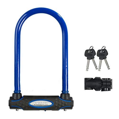 Master Lock 8195EURDPROCOLB Candado U, Llave, Soporte de Transporte, Antirrobo Certificado, Azul, Electrica, Bicicleta Montaña, Unisex-Adult, Medium