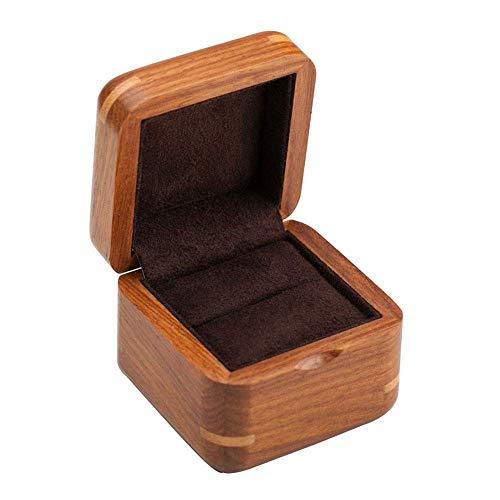 QULONG Caja de Anillo, Palisandro Palisandro Caja de Anillo de Compromiso de Madera Maciza Pura Caja de Anillo de Diamante Caja de Almacenamiento de Pendientes Laca Pintada día de la Madre, un mejo