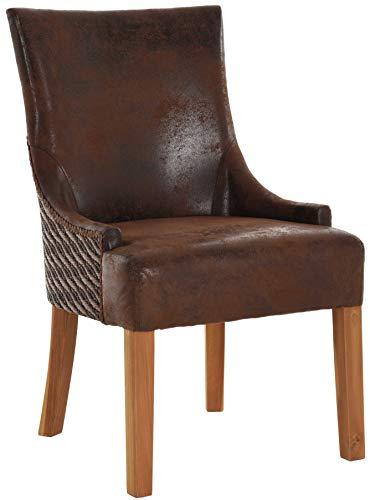 korb.outlet Polsterstuhl Wave Loomstuhl Esszimmerstuhl Gepolsterter Stuhl aus Loom Holz Kombination Küchenstuhl (Braun)