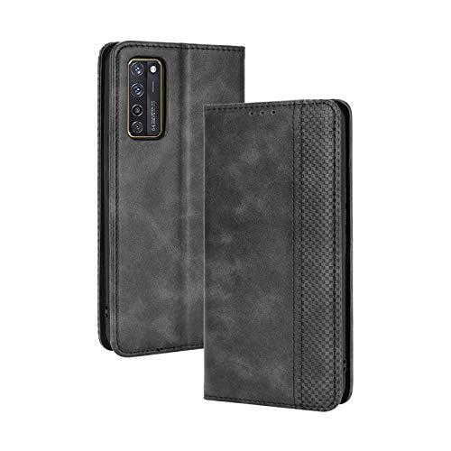 TOPOFU Leder Hülle für ZTE Axon 20 5G, Premium Flip Wallet Tasche mit Ständer & Kartenfächer, PU/TPU Magnetic Lederhülle Handyhülle Schutzhülle für ZTE Axon 20 5G (Schwarz)