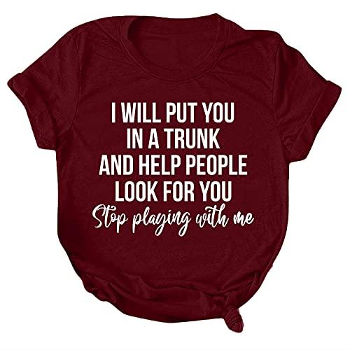 Camiseta suelta de manga corta con cuello en O para mujer, camiseta básica para damas, camisetas para verano al aire libre (vino, XL)