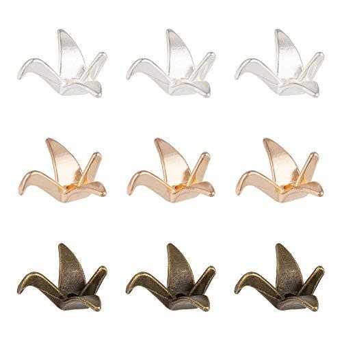 NBEADS 60 Pieza de Cuentas Espaciadoras de Aleación con Forma de Grúa de Papel, Oro/Plata/Marrón Metal 3D Oro Japonés Origami Grulla Perlas Sueltas Conector de Pulsera Perlas