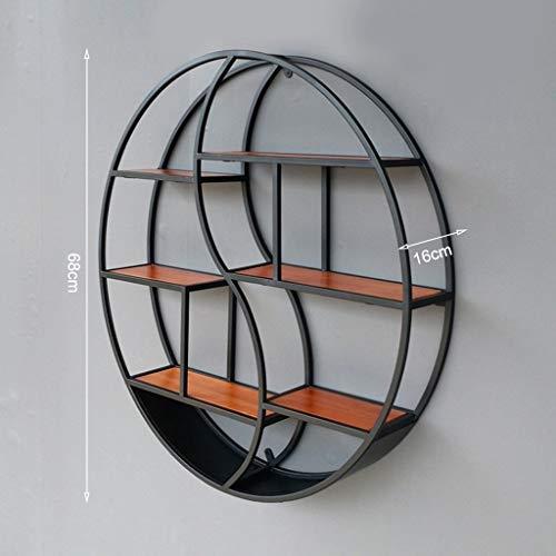 Lfixhssf planken in Europese stijl woonkamer-wand-hangers ijzeren frame rekken retro houten planken scheidingswand ronde tentoonstelling Lfixhssf zwart