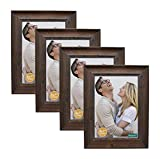 decanit 5x7 Picture Frames Rustic Distressed Brown Wood Pattern High Definition Glass for Table Top Display and Wall Mounting Photo Frame,Pack of 4