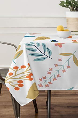 LEPOS - Mantel de armonia botanica de Tela de poliester para Mesa de Cocina, Comedor, Mesa, decoracion, Rectangular, 60 x 120 Pulgadas