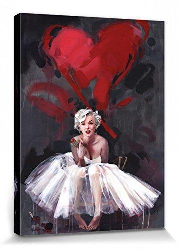 1art1 Marilyn Monroe - Gemälde, Herz, James Paterson Bilder Leinwand-Bild Auf Keilrahmen | XXL-Wandbild Poster Kunstdruck Als Leinwandbild 80 x 60 cm
