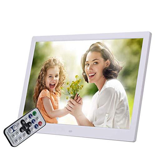 Marco de fotos digital LED de alta resolución de 15 pulgadas 1280 * 800 Con inducción de suelo humano Altavoz doble 16 & Omega; 2w incorporado y control remoto con función de reloj de calendario (bl