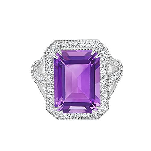 Shine Jewel Juego de Garras Dobles Amatista Piedra Preciosa Plata 925 8X6 MM Corte Radiante Clásico Anillo (24)