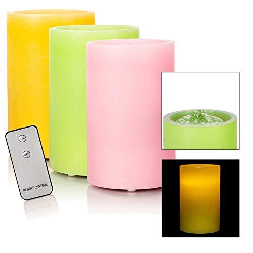 DbKW (Rosa) LED Brunnenkerze mit Wasserspiel und Fernbedienung - Echtwachskerze als Zimmerbrunnen mit LED Beleuchtung inkl. Timer