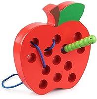 Design accattivante: mela rossa vivida con 13 fori lisci e foglia verde sembra così deliziosa, lascia che il bruco affamato la mangi prima. Aiuta il bruco attaccato a una corda a sgranocchiare la mela infilando dentro e fuori. Perfetto per l'allename...