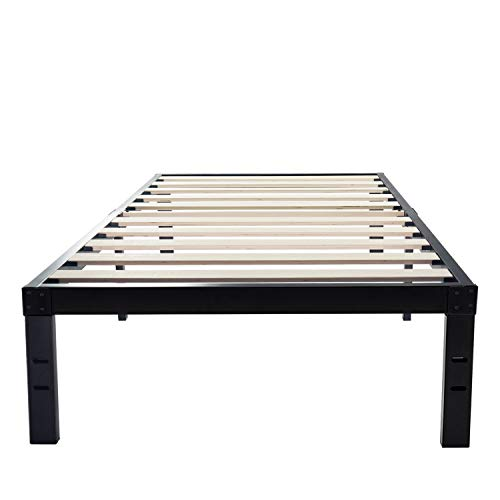 14 Inch Metal Platform Bed Frames / Wood Slat Support / No Box Spring Needed / 3500 lbs Heavy Duty/ Noise Free/ With storage / Black Finish Twin XL