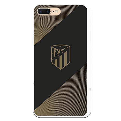 Funda para iPhone 7 Plus - iPhone 8 Plus Oficial del Atlético de Madrid Fondo Negro para Proteger tu móvil. Carcasa para iPhone de Silicona Flexible con Licencia Oficial de Atlético de Madrid.