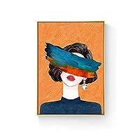 モダンな抽象的な壁アート絵画キャンバスアートワーク 壁アートの絵画アートオンキャンバスポリゴンプラントデジタル絵画キャンバス抽象的な油絵キャンバスポスタープリントウォールアート写真リビングルームの装飾ギフト ハングする準備ができて (Color : A, Size : 60*80cm)