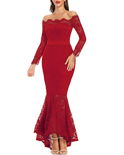 LALAGEN Women's Floral Lace Long Sleeve Off Shoulder Wedding Mermaid Dress Red XXL